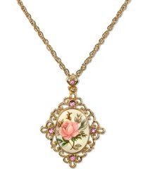 "2028 gold tone ivory color floral decal crystal accent pendant 16"" adjustable necklace"