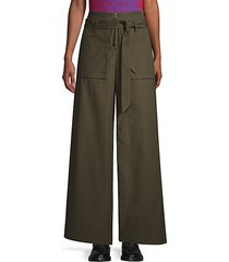 belted cotton cargo pants