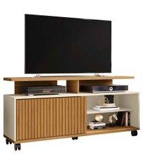 rack topázio p/ tvs até 52 polegadas cinamomo/off-white ripado móveis bechara