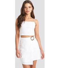 julia wieniawa x na-kd overlapped asymmetric skirt - white