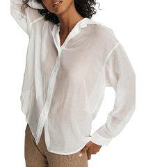 rag & bone women's sheer boyfriend shirt - navy - size xxs