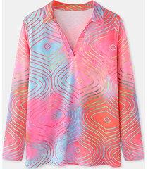 camicetta casual a maniche lunghe con collo a risvolto stampato per donna