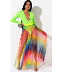 akira rainbow pleated maxi skirt