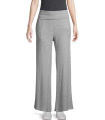 heroes & dreamers women's ribbed wide-leg pants - heather grey - size l