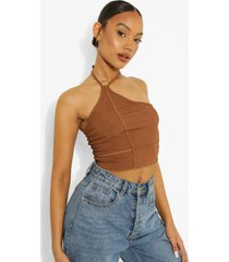 geribbelde top met halter neck en naaddetail, chocolate