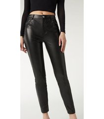 calzedonia thermal leather-effect pants woman black size m