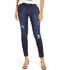 women's 1822 denim re: denim distressed ankle skinny jeans, size 33 - blue
