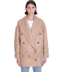 balmain coat in camel cashmere