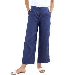 pantalón culotte en lino con cierre decorativo en el frente unipunto 5000