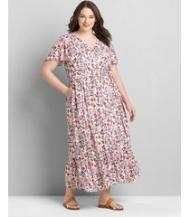 lane bryant women's flutter-sleeve button-front maxi dress 16 evelyn floral