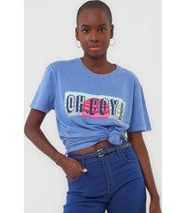 camiseta oh, boy! logo azul - azul - feminino - algodã£o - dafiti