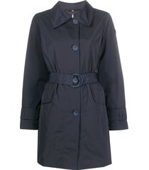 peuterey single-breasted belted coat - blue