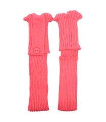 polaina ayron fitness max lã com botão rosa salmão