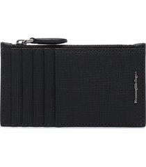 ermenegildo zegna saffiano textured wallet - black