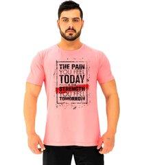 camiseta tradicional gola redonda alto conceito a dor que voc㪠sente hoje rosa beb㪠- rosa - masculino - algodã£o - dafiti