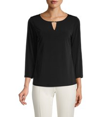 calvin klein women's roundneck long-sleeve top - black - size l