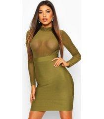 high neck mesh bandage bodycon dress, olive
