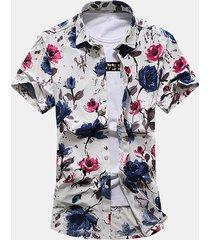 uomo camicia floreale sciolta a maniche corte da spiaggia a taglia forte
