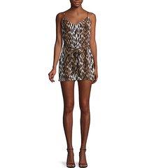 audra sleeveless leopard-print silk romper