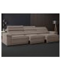 sofá lincoln assento retrátil e reclinável velosuede marrom - netsofas