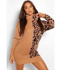 luipaardprint jacquard trui jurk met col, geelbruin