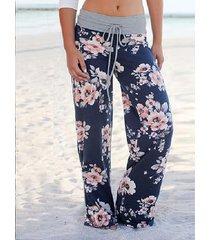 pantalones de cintura ancha con estampado floral y cordón ajustable