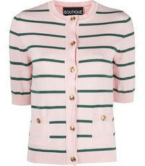boutique moschino horizontal stripe knitted cardigan - pink