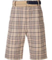 sacai belted plaid shorts - neutrals