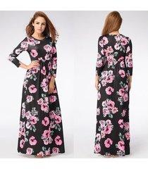 vestido largo estampado floral para mujer correa con cuello en v vestidos de playa divididos media manga suelta vestidos-665 negro