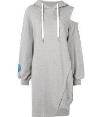 sjyp long-length asymmetric hoodie - grey