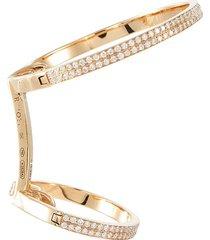 'elliptiques' diamond 18k rose gold two row single ear cuff
