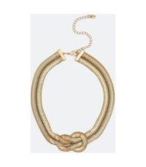 colar maxi com detalhes em nó   accessories   dourado   u
