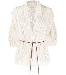 brunello cucinelli knitted sequin embroidered cardigan - neutrals