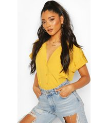 woven pocket detail utility shirt, mustard