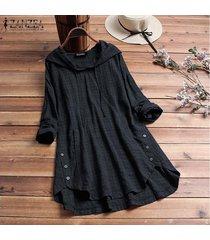 zanzea mujeres tela escocesa comprobar largo ocasional top de la camisa de la blusa asimétrica sudaderas con capucha plus -negro