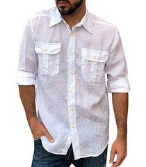 camisas de cuello clásico liso casual para hombres