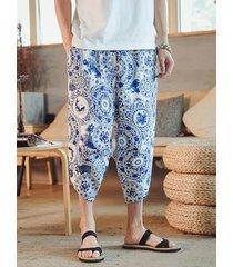 hombres estilo chino impreso casual hasta la pantorrilla pierna ancha suelta pantalones