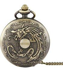orologio da taschino steampunk in bronzo con catena modello dragon classico vintage