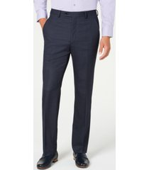 alfani red men's slim-fit performance stretch navy windowpane suit separate pants, created for macy's