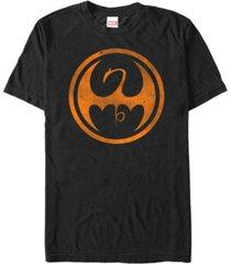 marvel men's iron fist distressed orange logo short sleeve t-shirt