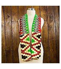 cotton blend kente scarf, 'akan blessing' (2 strips) (ghana)
