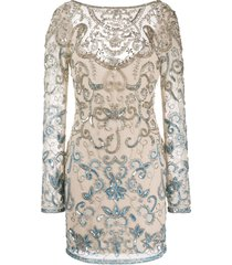 just cavalli sequin embroidered fitted dress - neutrals