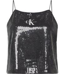 sequin logo strap top t-shirts & tops sleeveless zwart calvin klein jeans