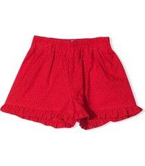 monnalisa red cotton shorts