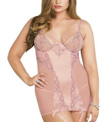 women's plus size elegant strappy chemise and panty set