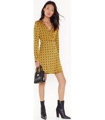 womens ain't dot far to go satin mini dress - mustard