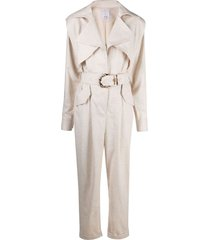 acler moto-style belted jumpsuit - neutrals