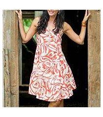 cotton dress, 'balinese orange' (indonesia)
