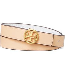 women's tory burch reversible leather belt, size x-small - gardenia / coy pink / gold