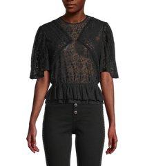 iro women's steela lace peplum top - black - size 34 (2)